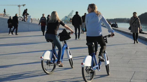 Bike-sharers in Oslo