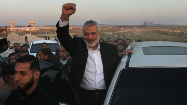 Hamas leader Ismail Haniya gestures as he visits the site of a protest on the Gaza-Israel border on 9 April 2018