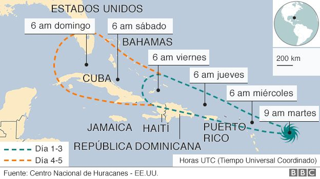 Mapa con la trayectoria prevista por el huracán Irma.