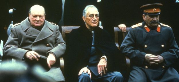 Winston Churchill, Franklin D Roosevelt, and Joseph Stalin at Yalta in 1945