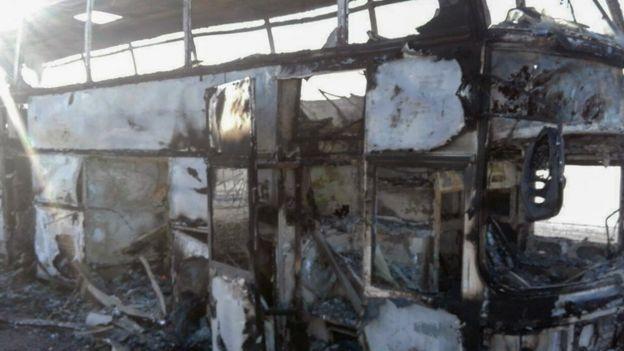 آتش گرفتن اتوبوس در قزاقستان