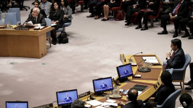 Riyad Mansour speaks at the UN amid a strong difference among speakers to the council