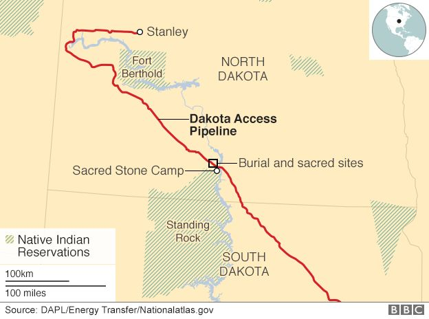 Dakota Pipeline Whats Behind The Controversy BBC News - Oil pipeline map north america