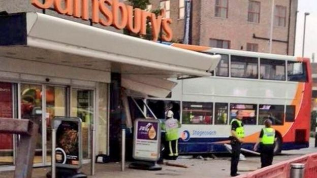 Bus crash outside Sainsbury's in Coventry