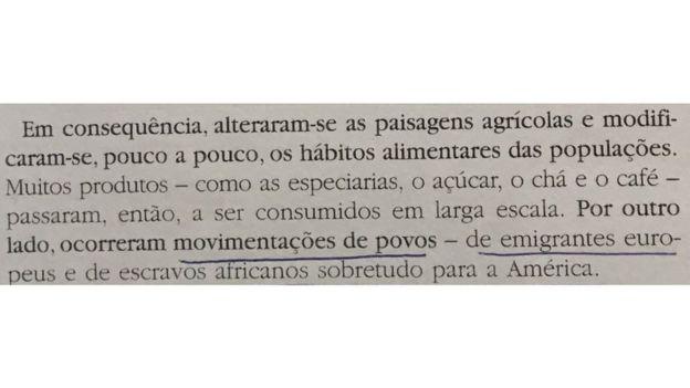 Passagem de livro didático em Portugal