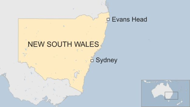 A map showing Evans Head 700km north of Sydney