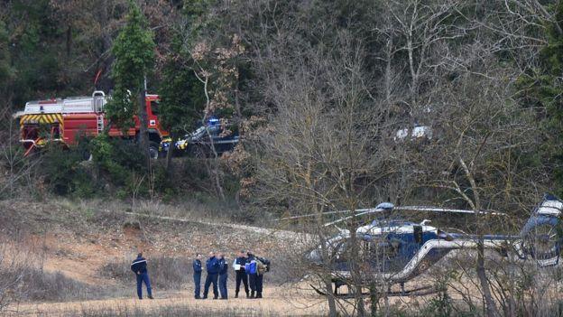 Rescuers at the crash site, 2 Feb 18