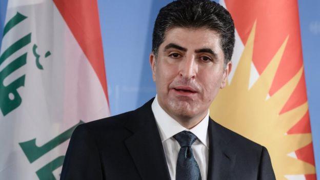Irak Kürdistan Bölgesel Yönetimi Başbakanı Neçirvan Barzani konuşma yapıyor.