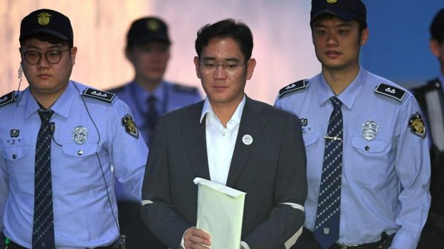 Samsung acting boss Lee Jae-yong is led into court (11 May 2017)