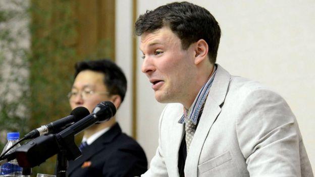 瓦姆比尔2016年在朝鲜电视台播出的记者会上