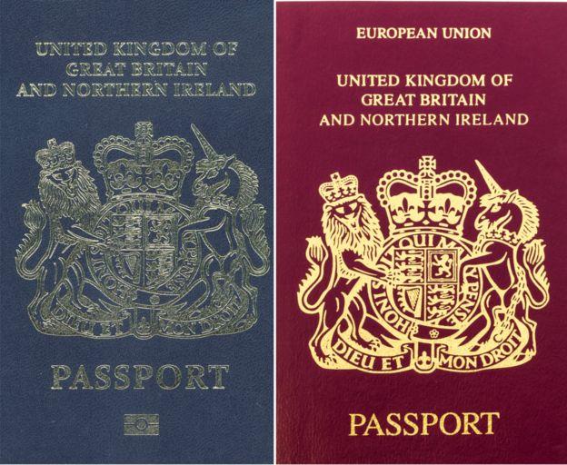 Pasaportes de Reino Unido en sus versiones azul y vino tinto