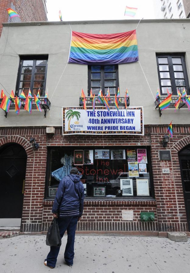 Gay pride flags marked the 40th anniversary of the Stonewall riots in 2009