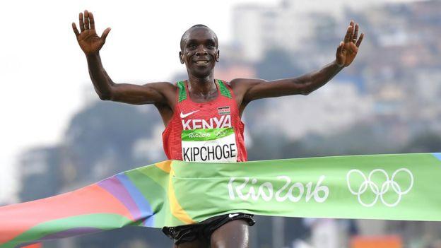 Eliud Kipchoge winning the Rio 2016 marathon.