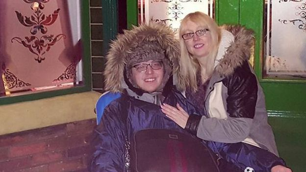 Liam and Wendy outside The Rovers