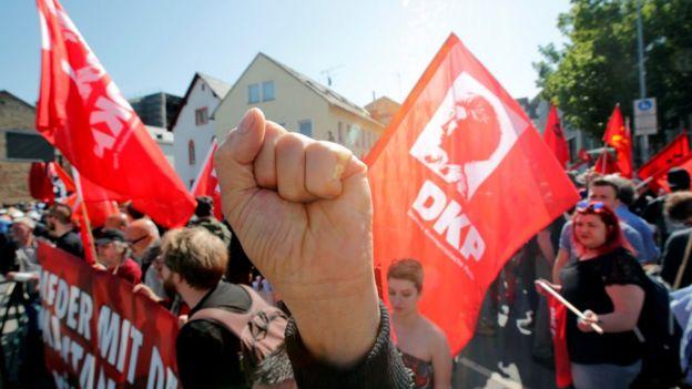 German communist party demonstrators in Trier