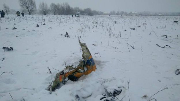 Remains of the accident of the plane of the airline Saratov.
