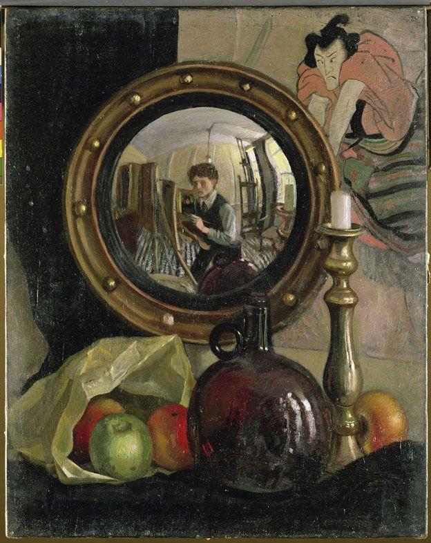 Still Life with Self-Portrait, Mark Gertler, 1918. Óleo en lienzo, 50,8 × 40,6 cm. Leeds Museums and Galleries (Temple Newsam) © Leeds Museums and Galleries (Leeds Art Gallery) U.K. / Bridgeman Images