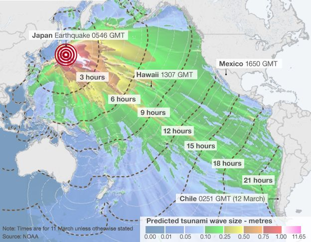 Japan earthquake wave forecast map bbc news estimated arrival times and amplitude of tsunami waves gumiabroncs Image collections