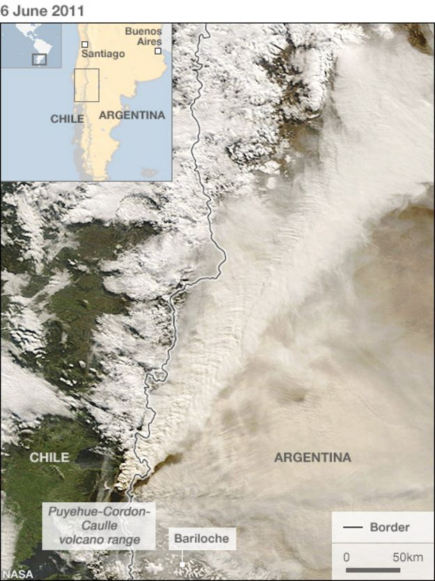Chile Volcano Some Flights Resume As Ash Effects Ease BBC News - Argentina volcanoes map