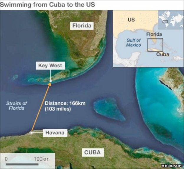US Swimmer Diana Nyad Makes CubaFlorida Crossing BBC News - Map of us and cuba