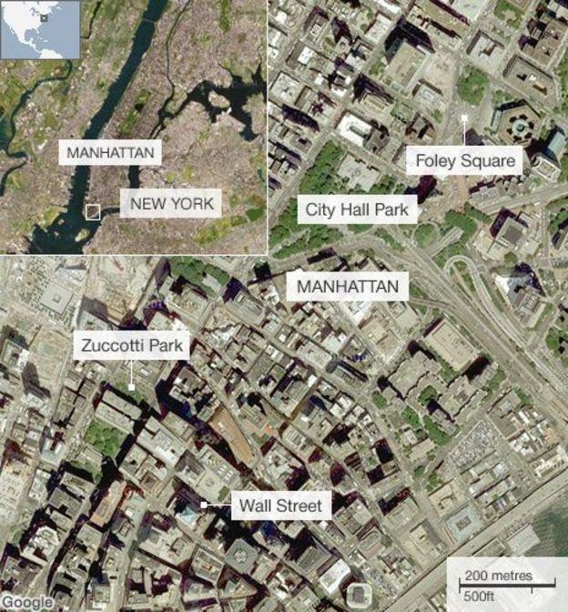 Occupy Wall Street New York Police Clear Zuccotti Park BBC News - Occupy wall street us map