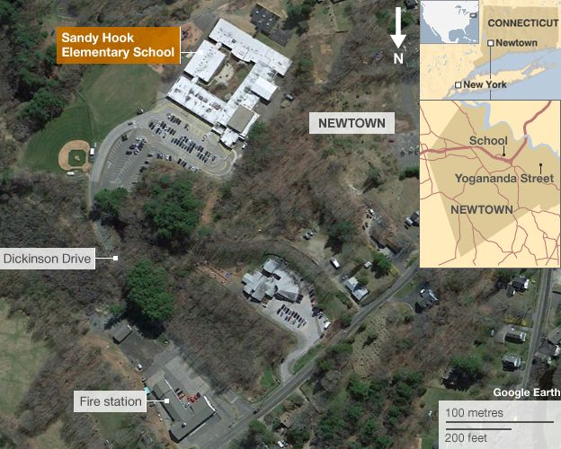 Map showing location of Sandy Hook Elementary School