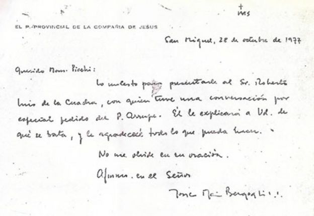 letter dated 1977 from the then fr bergoglio regarding a disappeared woman