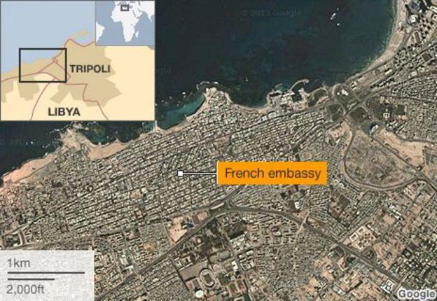 Tripoli French Embassy In Libya Hit By Car Bomb BBC News - Us embassy attacks map