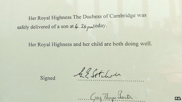 Royal baby Kate gives birth to boy BBC News – Baby Arrival Announcement Messages