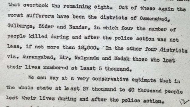 hyderabad s hidden massacre news a copy of the sunderlal report