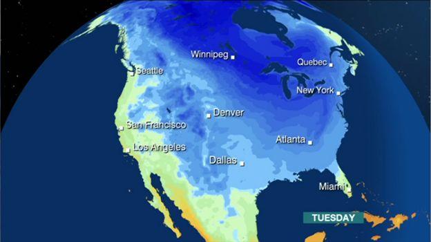 N America Weather Arctic Blast Brings Record Temperatures BBC News - Nyc bbc weather