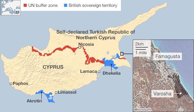 Varosha The Abandoned Tourist Resort BBC News - Map of northern cyprus in english