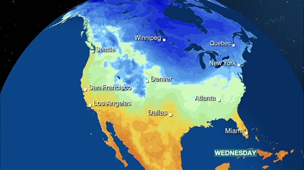 Big Freeze Shatters North America Temperature Records BBC News - Map us low temperature january