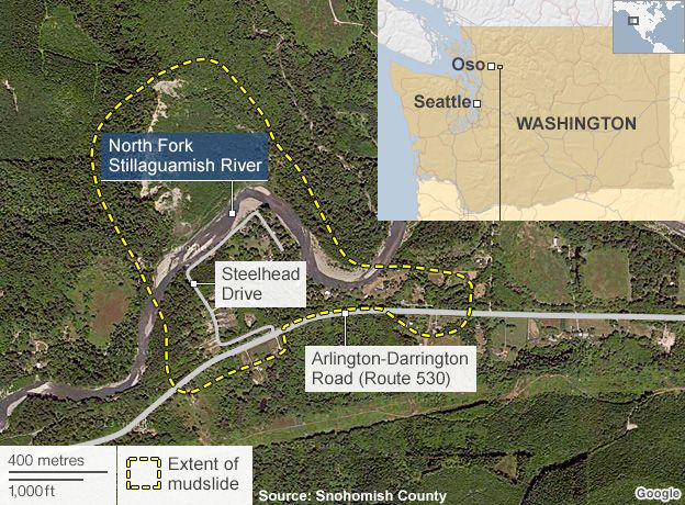 Washington landslide death toll rises to 14 BBC News