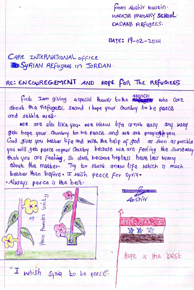 Syria crisis Uplifting letters of hope BBC News – Encouragement Letter Template