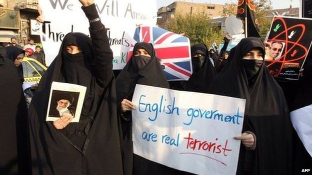 Protesters outside the British embassy in Tehran in 2011