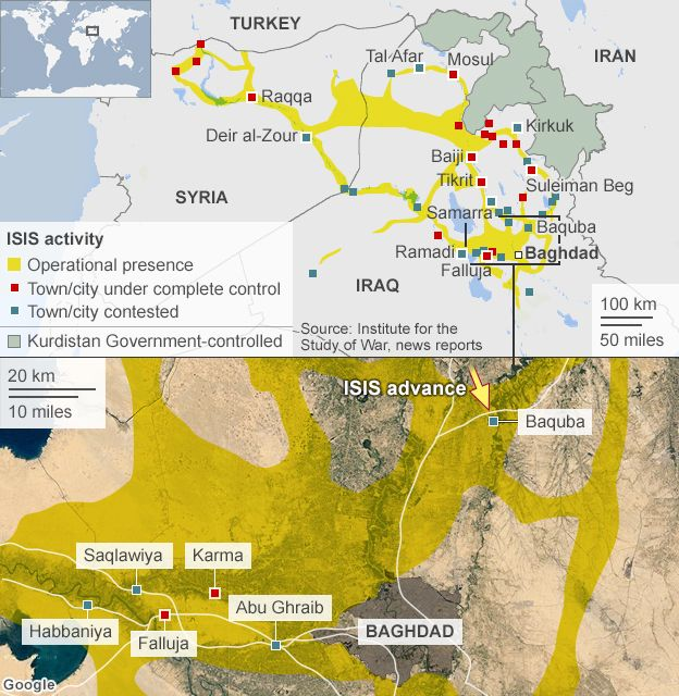 Iraq Crisis Baiji Oil Refinery Contested BBC News - Map showing us and iraq