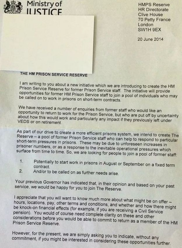 Ministry of justice recruits reserve prison officers bbc news prison service letter ccuart Images