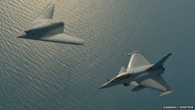 A Neuron UCAV And Rafale Fighter Jet Flying In Formation