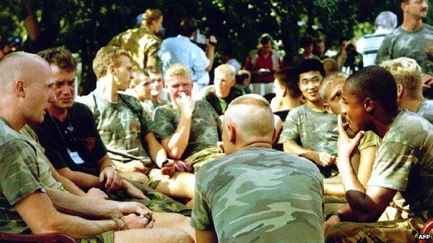 A file photo taken on 16 July 1995 shows Dutch soldiers of the Dutchbat troops in