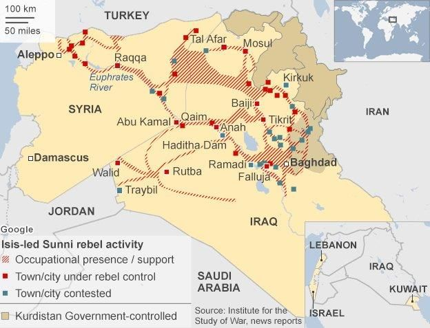 Syria Iraq The Islamic State Militant Group BBC News - Where is syria located on the map