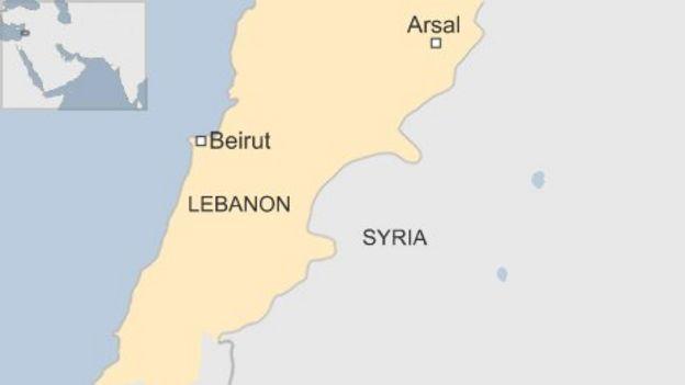 Image result for Arsal, Syria, Lebanon border, map