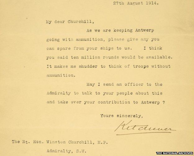 Churchill rejected Lord Kitchener's WW1 ammunition plea, letter ...
