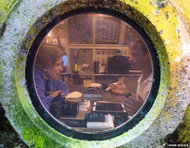 Sylvia Earle and Fabien Cousteau inside Aquarius