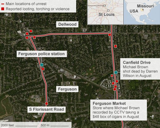 Ferguson Riots Ruling Sparks Night Of Violence BBC News - Map of riots in us