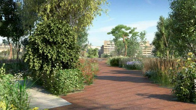 Londons River Thames garden bridge backed by Westminster Council