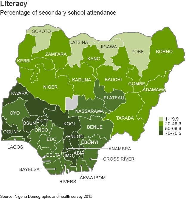 Map Showing Literacy Rates Across Nigeria