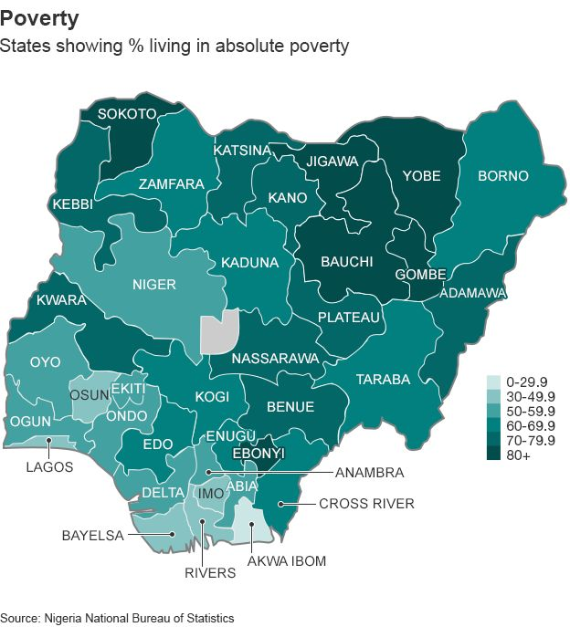 Map Showing Poverty Rates In Nigeria