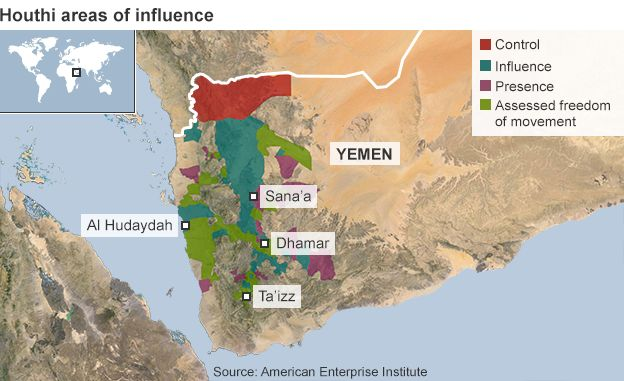 Yemen Unrest Saudi Arabia Closes Embassy BBC News - Us embassy in yemen map