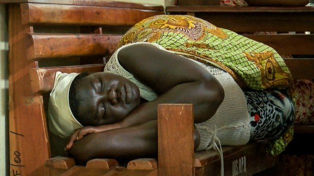 A patient waiting to be seen sleeps in Ghana Nursing Salary In Ghana 2018 - How Ghana Has Reversed Exodus Of Nurses